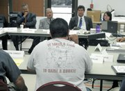 Matt Sanchez addresses Santa Barbra Police Chief Cam Sanchez and other officials at a South Coast Gang Task Force meeting (2008)