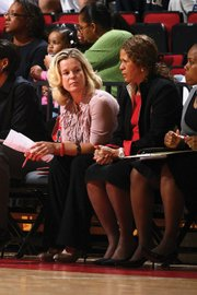 UCSB women's basketball coach Carlene Mitchell (left) sat beside Hall of Fame coach C. Vivian Stringer for 10 seasons at Rutgers.