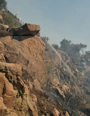 Fire fighters work the Lookout Fire (Oct. 17, 2012)