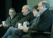 (Left to right) Ivan Reitman, Tom Pollock, Sacha Gervasi, and Joe Medjuck discuss the making of Hitchcock following a screening of the film at UCSB's Pollock Theater this past December 2.