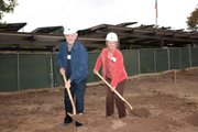 Dr. Joe and Carol Dobbs participate in a ceremonial turning of the dirt at a groundbreaking ceremony for the Casas Verdes expansion at Valle Verde. The couple has reserved a home in the new expansion, where all 40 new residences have been reserved. Casas Verdes marks the first significant senior living construction in Santa Barbara in the last 30 years.