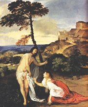 """<i>In the Footsteps of Jesus</i> posits that Jesus treated women as equals, including the woman who may have been his wife, Mary Magdalene. The two are seen here in Tiziano Vecellio's """"Noli Me Tangere,"""" a painting from the 1500s."""