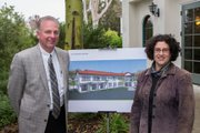 Samarkand Executive Director Paul Peterson, left, share a rendering of the future LifeCenter with Santa Barbara Mayor Helene Schneider, during groundbreaking ceremonies on Jan. 25, 2013. This north view of the coming building will be seen from Cottage Road. The new multipurpose community center will offer fireside, second-story, outdoor café dining with views of the Santa Ynez Mountains.