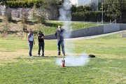 Students in Mr. Parsons physics class launch rockets, in awe of Newton's third law.