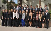 Dr. Eskandari and the students at an earlier SBCC luncheon held in their honor.