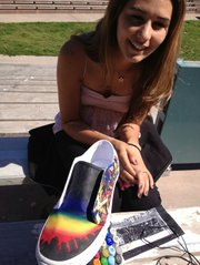 Jodi Balster with art shoe