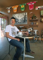 Former pro cyclist Aaron Olson now co-owns Handlebar Coffee Roasters, a hangout for two-wheel fanatics.