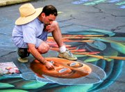 Featured artist Jay Schwartz begins to paint in the intense colors that are his trademark in 2002.