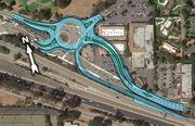 101 COMMOTION:  Caltrans says fitting the Common Sense 101 plans into working designs makes the group's ideas unfeasible ​— ​the roundabout would have to be moved and ramps would have to be built through buildings at the Vons shopping center.