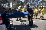 Santa Barbara emergency personnel respond to fatal traffic accident on Highway 101 near Dos Pueblos Ranch.