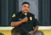SBPD Officer Adrian Gutierrez speaks at the Community Action Commission Service Provider Summit addressing possible solutions to youth and gang related issues (July 29, 2013)