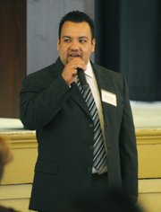 Saul Serrano, South Coast Task Force on Youth Gangs coordinator, speaks at Monday's conference