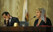County Supervisors Doreen Farr (right) and Steve Lavagnino (Aug. 20, 2013)