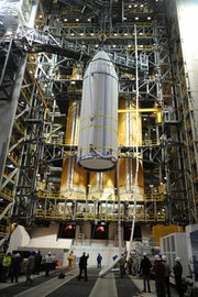 Workers assemble the Delta IV-Heavy rocket at Vandenberg Air Force Base