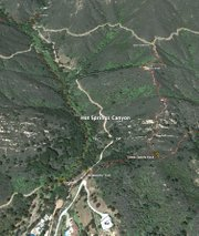 Enlarged Google Earth map of Hot Springs Canyon shows the trails network including the new Creekside Trail.