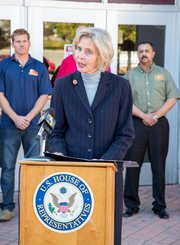 Congresswoman Lois Capps speaks during Monday's press conference on the Federal Firefighters Fairness Act