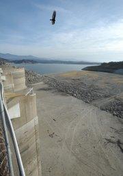 A view of Cachuma lake at 39 percent capacity from Bradbury Dam (Jan. 9, 2014)