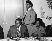 Ali kept up his bad-boy posturing during the contract luncheon, which included Liston's wife, Geraldine.