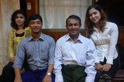 Kyaw Min (second from right), former member of the Myanmar Parliament, spent seven years in prison, 