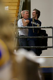 A UCSB basketball fan continues to taunt the Hawaii team as he's escorted out of The Thunderdome