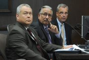 <b>LAYING DOWN GAUNTLET:</b> Police Chief Cam Sanchez (center) — flanked by assistant chief Frank Mannix (right) and spokesperson Riley Harwood (left) — outlined steps his department is taking to combat the urban travelers.