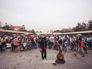 A crowd gathers in Freedom Square in central Phnom Penh to attend a speech by the leader of the Cambodian People's Rescue Party.