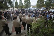 A large gathering of media at the Santa Barbara Sheriff's press conference on the Isla Vista shooting (May 24, 2014)