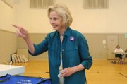 Congresswoman Lois Capps drops off her ballot at the First Methodist Church polling station. (June 3, 2014)
