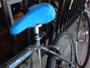 The bike seat fix with blue painters tape