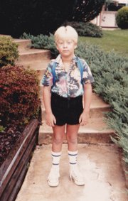 The author rocking some navy OP shorts on the first day of first grade.