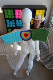 <b>FANTASTICAL FIBER:</b>  Family man Steve Duneier moonlights as Santa Barbara's Yarn Bomber. His outdoor installations, often comprising donations from would-be yarn bombers around the world, have been causing cheers and even a few jeers in the South Coast's creative community.