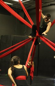 Rigo Sanchez (top) plays Oberon in Naked Shakes' production of <em>A Midsummer Night's Dream</em>.