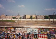 "A look over the Berlin Wall at ""No Man's Land"" between East and West Berlin in 1988."