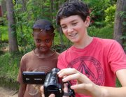 A student takes a selfie while on an experiential learning trip.