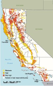 Map of California high fire hazard zones show state responsibility areas in colors ranging from yellow to dark orange. White areas are federal or local firefighting jurisdictions.