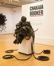 """<b>ALL MIXED UP: </b> New Jersey/Pennsylvania artist Chakaia Booker makes elaborate, detailed sculptures from new and used rubber tires. Her work, including """"Mixed Messages"""" (pictured here), will be on display at Westmont College through January 2015."""