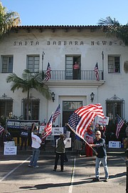 Members of We the People Rising and the Santa Barbara Tea Party rally together