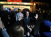 2015 SBIFF 'Modern Master' recipient Michael Keaton greets the crowd at the Arlington Theatre. (Jan. 31, 2015)