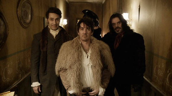 BLOODY GOOD TIME: Taika Waititi, Jonathan Brugh, and Jemaine Clement star as three hapless vampire roommates in the hilarious <em>What We Do in the Shadows</em>.