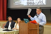 Santa Barbara Supervisor Salud Carbajal addressed a crowd opposed to oil transport by train