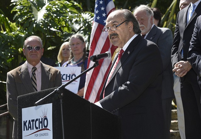 Assemblymember Katcho Achadjian announces at the Santa Barbara Courthouse that he is running for Congress.