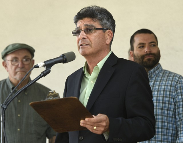 Marcos Vargas speaks at a rally for living wages (April 29, 2015).