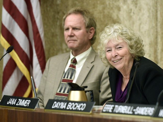 California Coastal Commissioner Jana Zimmer (right) led the commission in its agreement to keep the Goleta Beach rock revetment for another 20 years.