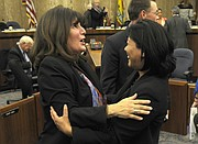 Supervisor Janet Wolf and County CEO Mona Miyasato