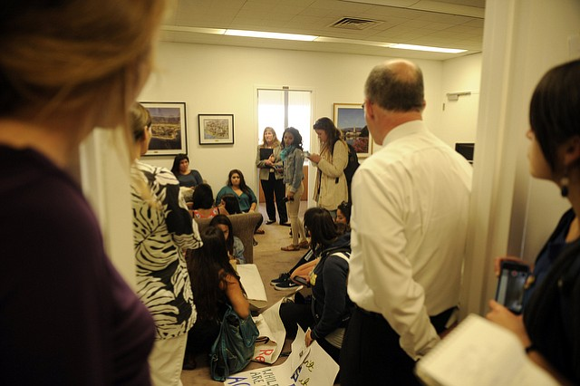 Students occupy the Office of the Chancellor to rally for changes in UCSB sexual assault policies.