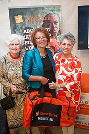 From left to right - Direct Relief Woman of the Year Award Winner, Bobbie Rubin; Special Guest, Frances Day-Stirk, President of the International Confederation of Midwives; and Mari Mitchel, past chair of Direct Relief Women.