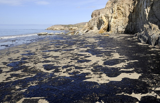 South of Refugio State beach the day after the oil spill (May 20, 2015)