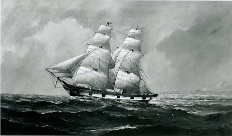 Richard Henry Dana sailed aboard <em>Pilgrim</em> and wrote his well-known book about the trip. This painting is from the Frank Thompson Collection.