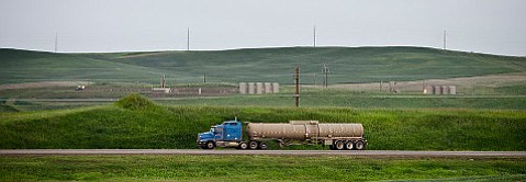 ExxonMobil is asking the county for an emergency permit to fast track the trucking of oil from Refugio to Nipomo. (The truck pictured is in North Dakota.)