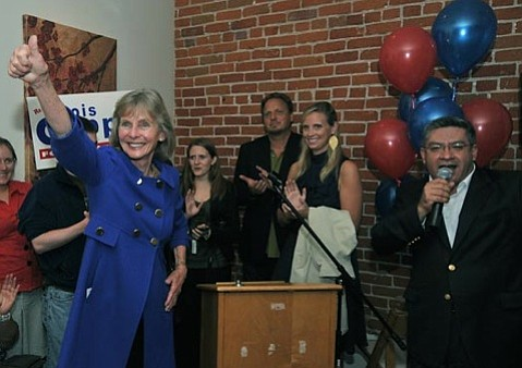 County Supervisor Salud Carbajal (right), here introducing Rep. Lois Capps (left) at her 2010 victory party, has received Capps's nod in the race for the 24th Congressional District seat.